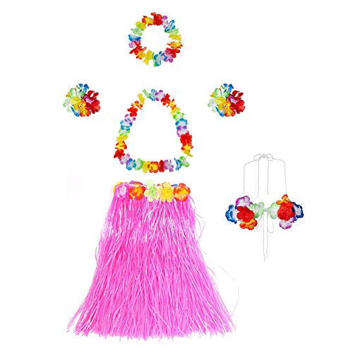 Gorse Elastic Hawaiian Dancer Grass Hula Skirt for Adult and Girls Floral Lei Costume Party Decorations Pink 23.6