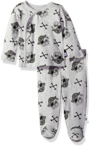 Rosie Pope Baby Boys' Kimono Set, Heather Grey Pirate Dog, 0-3 Months (Pirate Clothing For Sale)