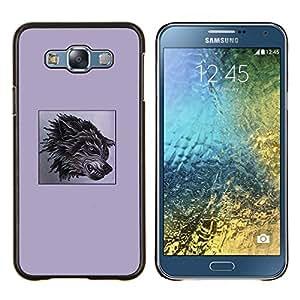 La ira perro impresiones Negro púrpura del colmillo del lobo- Metal de aluminio y de plástico duro Caja del teléfono - Negro - Samsung Galaxy E7 / SM-E700