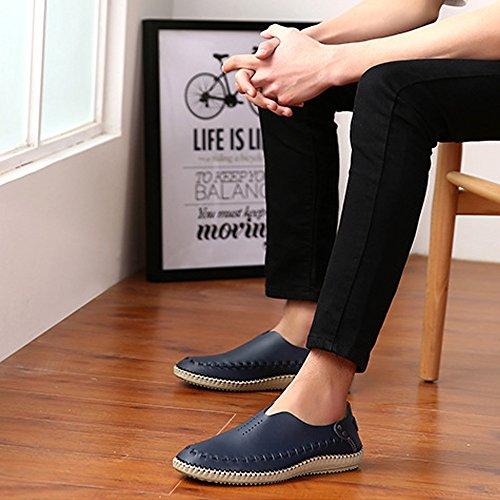 Mxnet Eu 46 per blu brogue uomo pelle taglia grigio comode vera in scarpe scuro fodera traspirante con classici mocassini colore rxUqwTar