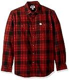 Carhartt Men's Hubbard Plaid Flannel Shirt, Fired Brick, X-Large