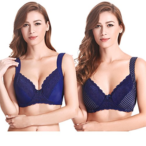 (Curve Muse Plus Size Unlined Underwire Lace Bra with Padded Shoulder Straps Size:46B)