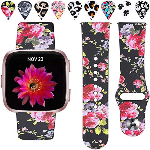(Wepro Floral Bands Compatible with Fitbit Versa & Versa Lite SE SmartWatch for Women Men, Silicone Fadeless Pattern Printed Replacement Band Strap Accessories Wristbands, Small, Black/Pink Floral)