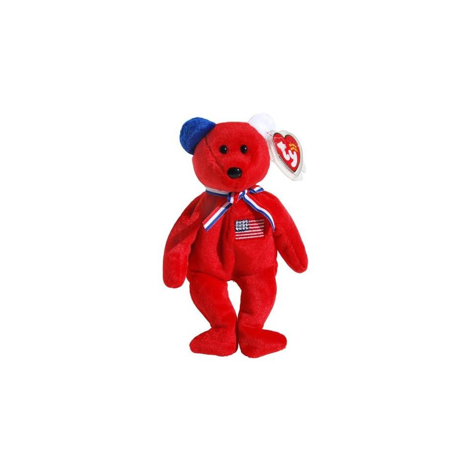 America 911 Memorial Red Teddy Bear   Ty Beanie Babies