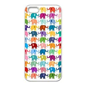 [Elephas Maximus] colorful elephant pattern Case For HTC One M8 Cover {White}