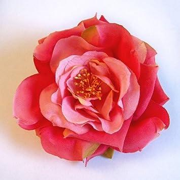 open garden rose artificial flower hair clippin brooch coral