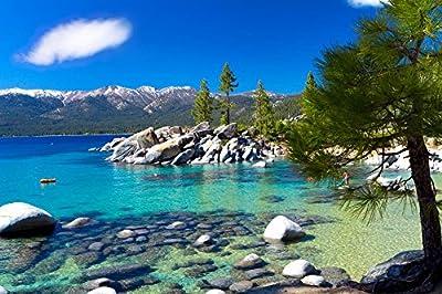 Wallmonkeys Landscapes Sand Harbor Beach Lake Tahoe Nevada Peel and Stick Fabric Wall Sticker, 36 x 24
