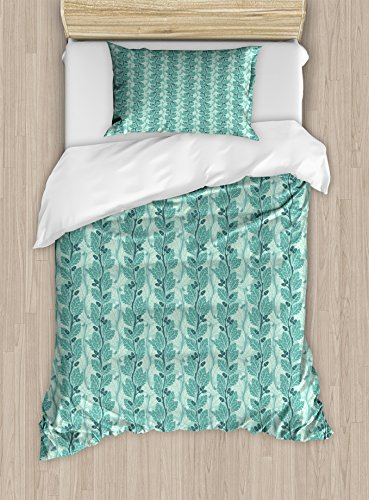 Ambesonne Tree Twin Size Duvet Cover Set, Oaks with Acorns Forest Design with Lush Leaves and Flourishing Branches, Decorative 2 Piece Bedding Set with 1 Pillow Sham, Slate Blue Sea Green