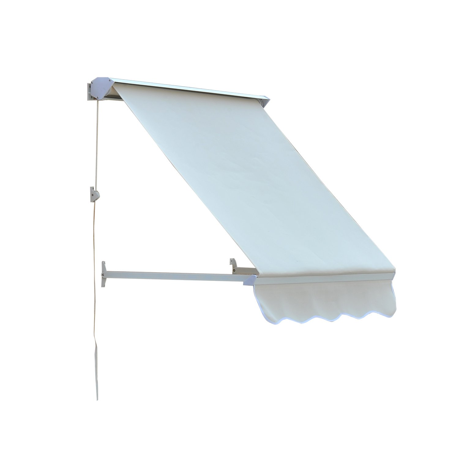 Outsunny Drop Arm Manual Retractable Window Awning, 4-Feet, Cream