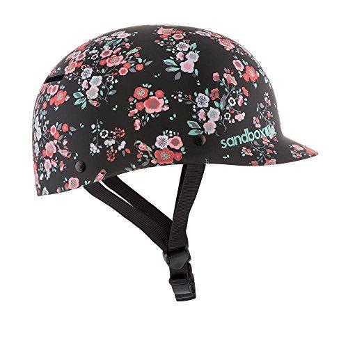 Caja de arena Agua 2.0Bajo Rider clásico casco, grande, Floral, color negro mate