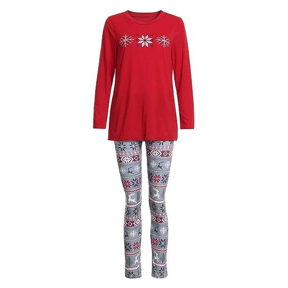 2PCS Navidad Mujer Hombre Nino Impresión de Copo de Nieve Top + Pantalones Pijamas de Ropa Familiar Ropa Interior Hombre: Amazon.es: Ropa y accesorios