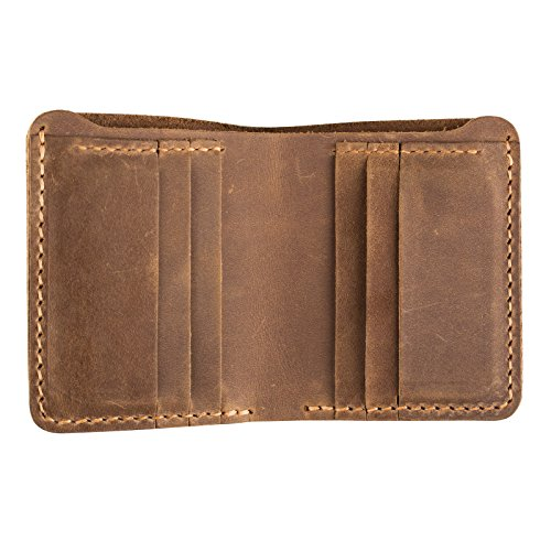ANCICRAFT Classic Men's Genuine Cowhide Leather Handmade Bi-fold Wallet with 6 Credit Card Slots (Light Brown)