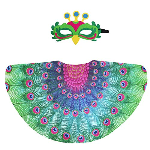 Fairy Peacock Costumes for Kids Girls Bird Wings Feathered with Mask Accessory for Princess Dress Up Party Favors (#3 Green) ()