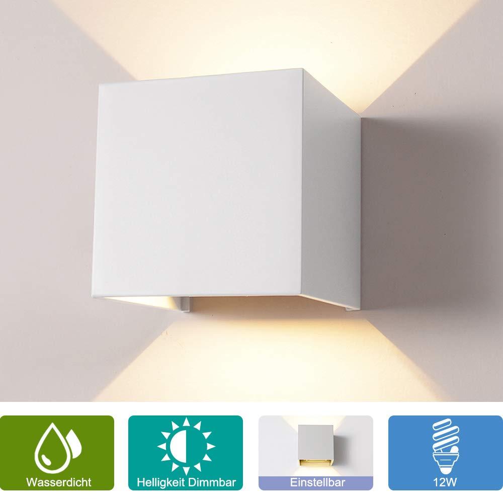 Schwarz, Warmwei/ß Elitlife Aussenleuchte Wandleuchte mit Bewegungsmelder 7W Wandlampe Terras Garage