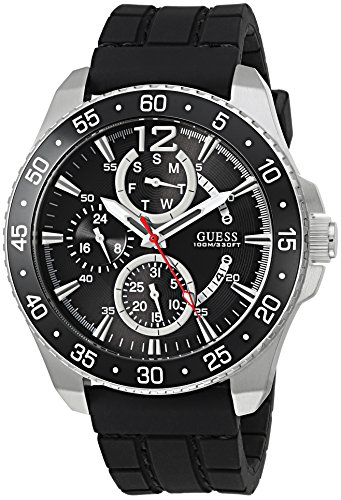 GUESS-Womens-Quartz-Stainless-Steel-and-Silicone-Casual-Watch-ColorBlack-Model-U0798G1