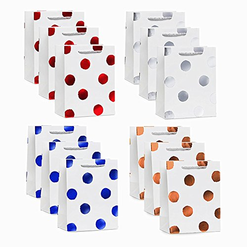 UNIQOOO 12 Pack Medium Size Gift Bags – 4 Design Metallic Foil Colorful Polka Dots Gift Bag – Perfect For Birthday, Wedding, Bridal Shower, New Year Party - With Gift Macy's Purchase