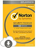 Software : Symantec 21351356-177909 Norton Security Premium - 10 Devices (PC/Mac)