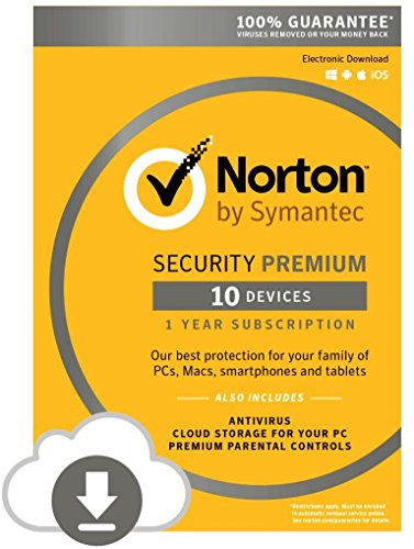 Symantec 21351356-177909 Norton Security Premium - 10 Devices (PC/Mac)