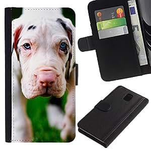 LASTONE PHONE CASE / Lujo Billetera de Cuero Caso del tirón Titular de la tarjeta Flip Carcasa Funda para Samsung Galaxy Note 3 III N9000 N9002 N9005 / Dog Puppy Great Dane Cute