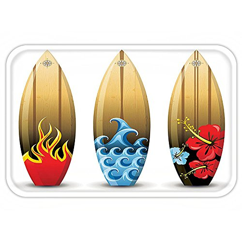 Fire And Ice Themed Costume (VROSELV Custom Door MatSurfboard Decor Collection Three Colorful Wood Surfboardwith Floral Sea and Fire Themed Summer Image Red Blue Peru)