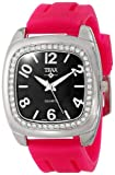 Trax Women's TR1740-BF Malibu Fun Fuchsia Rubber Black Dial Crystal Watch