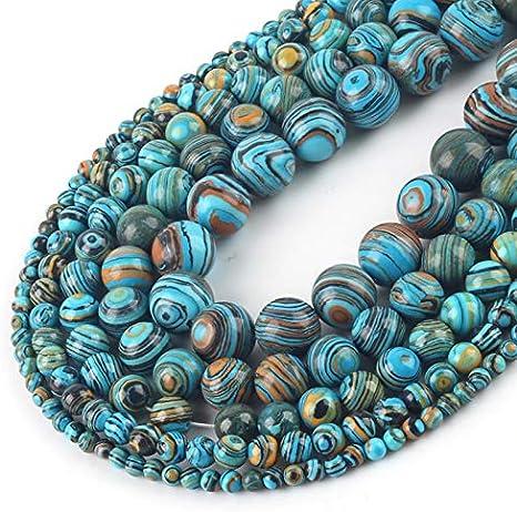 NOLOGO Gxbld-yy Granos al por Mayor Mate Azul malaquita Redondos Flojos de Piedra Espaciador for la Pulsera del Collar de Bricolaje Tamaño joyería Que Hace 4 6 8 10 12 mm (Talla : 10mm 37pcs Beads)