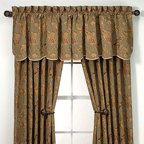 Richfield Tailored Drapery Panel Embroirdered Sage Green w/Gold Burgundy Floral Accents 53