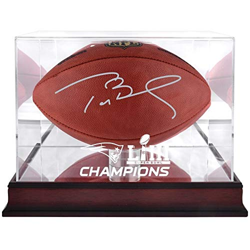 Tom Brady New England Patriots FAN Autographed Signed Duke Football With Mahogany Base Super Bowl Liii Champions Football Display Case - Tristar - Certified Signature