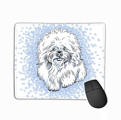 - Customized Rectangle Mousepad,Cute Gaming Mouse Pad Mat 11.81 X 9.84 Inch White Cute Dog Bichon Frise Breed Blue Background