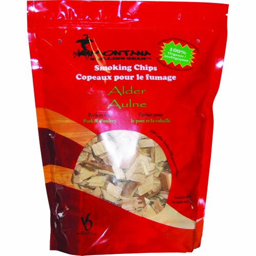 Smoking Chips Alder Wood (Montana Grilling Gear Smoking and Cooking Wood Chips – 100% Organic and Pesticide Free - Safe for Grills and Smokers - 220 Cubic Inch Bag - Alder - SC220-ALD)