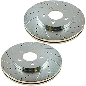 Nakamoto Performance Brake Rotor Drilled Slotted Front Zinc Coated Pair for Ford