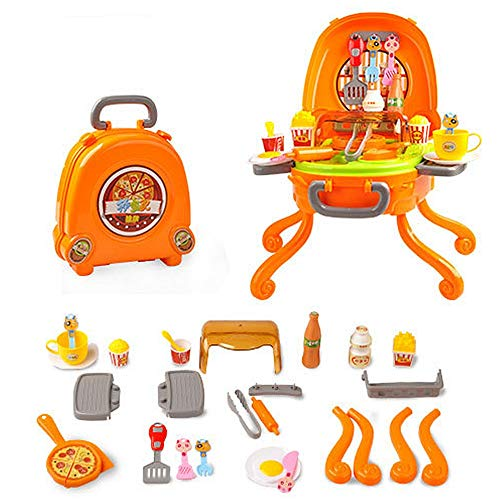 Miniature with Furniture Pretend Play Ice Cream Pizza BBQ Hamburger Food BBQ Hot Dog Fish Meat Cart Trolley Kitchen Cooking Set Toy With Music And Lighting For Kids And Girls Pretend Play Toys for Val -