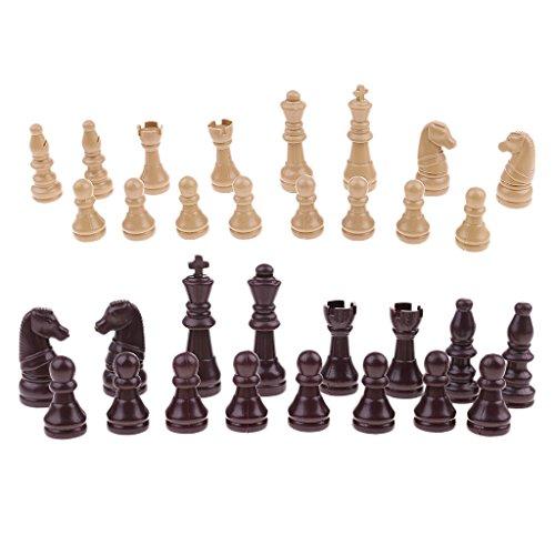 Fenteer Piezas de Ajedrez de Color Beige Marrón Chess Pieces Chessman