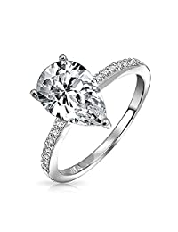 Bling Jewelry 2.25ct Pear Solitaire CZ Engagement Ring 925 Sterling Silver