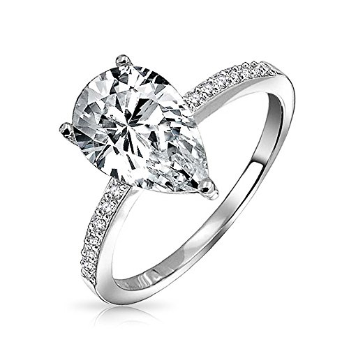 (2.5CT Teardrop Pear Shape Solitaire AAA CZ Engagement Ring For Women Pave Thin Band Cubic Zirconia 925 Sterling Silver)