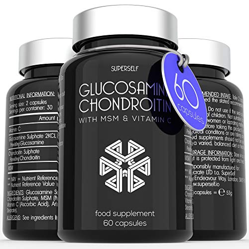 Glucosamine and Chondroitin MSM Capsules – High Strength Complex with Glucosamine, Chondroitin, MSM and Vitamin C – 60…