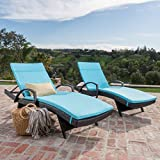 Olivia Patio Furniture ~ Outdoor Wicker Chaise Lounge Chair with Arms with Blue Cushion (Set of 2)