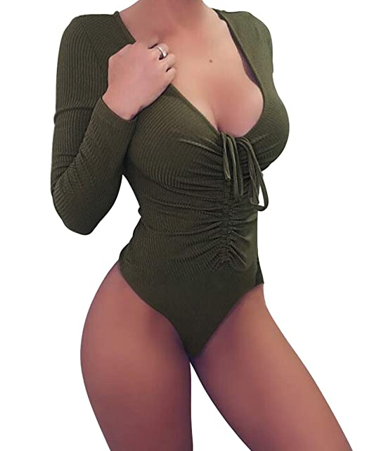 41d66210af Womens Deep V Neck Bodysuit Sexy Cute Lace UP Tight Tie Knot Bodysuit Army  Green S