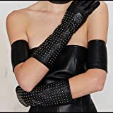 Brian Atwood for Neiman Marcus Black Studded Leather Gloves, Limited Edition, Size S/M
