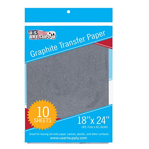 U.S. Art Supply Graphite Carbon Transfer Paper 18'' x 24'' - 10 Sheets - Black Tracing Paper for all Art Surfaces by US Art Supply