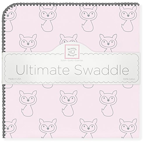 SwaddleDesigns Ultimate Swaddle, X-Large Receiving Blanket, Made in USA Premium Cotton Flannel, Gray Fox on Pastel Pink (Mom's Choice Award Winner)