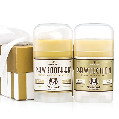 Gold Cracked Ice Sets (Natural Dog Company PAWDICURE GIFT PACK | Organic, All-Natural | Protect and Heal Dry, Cracked Paw Pads | Paw Soother 2 oz Stick + PawTection 2 oz Stick + Gift Box Set)