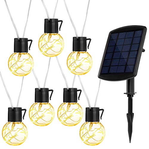 jerayley Solar Powered String Lights, 33Ft 20pcs Edison Bulbs with Hanging Sockets for Indoor/Outdoor Patio Garden Party Xmas Tree Wedding Decoration (Patios Backyard Pinterest)