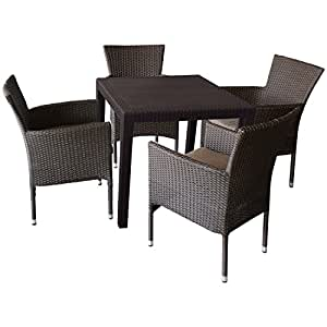 Muebles de Jardín Conjunto de muebles de 5piezas Asiento Grupo Muebles de Jardín (Bistro Escobillero–Mesa de jardín, aspecto de ratán,, 79x 79, plástico, Moca + 4x Sillón apilable, polirratán Incluye Asiento Acolchado