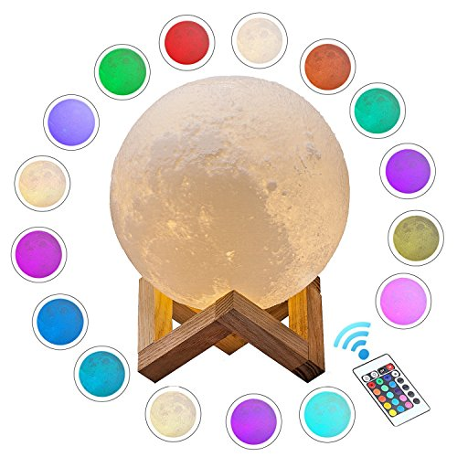 ACED Moon Light, 3D Printed LED 16 Colors RGB Moon Lamp, Remote & Touch Control, Dimmable, Color Changing, USB...