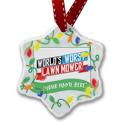 Personalized Name Christmas Ornament, Funny Worlds worst Lawn Mower NEONBLOND