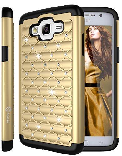 Galaxy Grand Prime Case, Style4U Studded Rhinestone Crystal Bling Hybrid Armor Case Cover for Samsung Galaxy Grand Prime G530 with 1 Style4U Stylus [Gold / (Hybrid Grande)