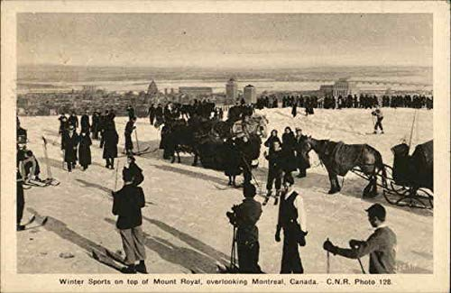 Winter Sports on Top of Mount Royal, Overlooking Montreal, Canada Original Vintage Postcard from CardCow Vintage Postcards