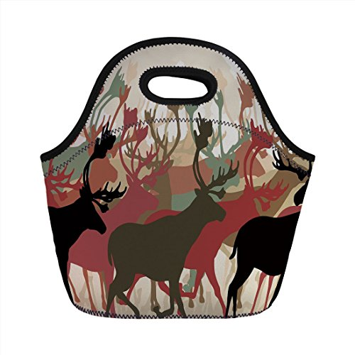 (Neoprene Lunch Bag,Antler Decor,Reindeer Caribou Herd Migrating Colorful Silhouettes Wildlife Nature Theme Decorative,Multicolor,for Kids Adult Thermal Insulated Tote Bags)