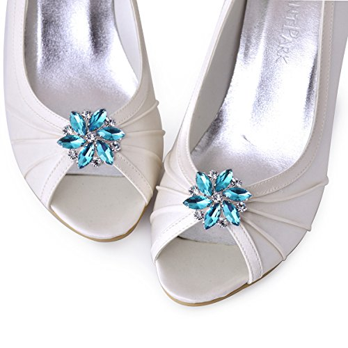 ElegantPark AJ zapatos de boda de vestir Accesorios Cristales Desmontable zapato Clips 2 Pcs Azul cielo